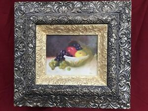 Antique Gold Silver Frame Original American Hendricks Oil Painting Still Life