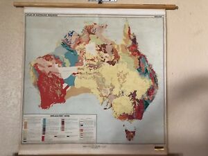 Vintage Pull Down Map Cloth 1 Layer Of Australia Vintage Salvage Old