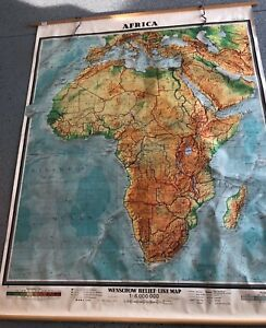 Vintage Pull Down Map 1 Layer World Africa Salvage Old Antique