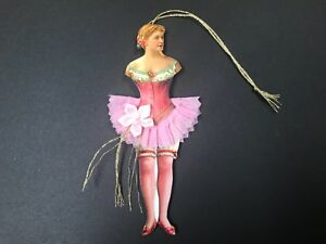 Paper Doll Ballerina Ornaments Valentine Gift Tag Vintage Feather Tree Item 6