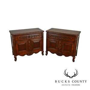 Hekman French Country Style Cherry Pair Nightstands Chests