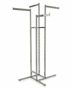 4 Way Garment Display Rack With 4 Straight Blade Arms Chrome