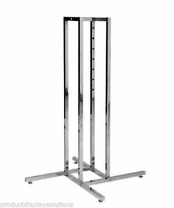 4 Way Clothing Display Rack Base Fits 1 Square Inserts Chrome