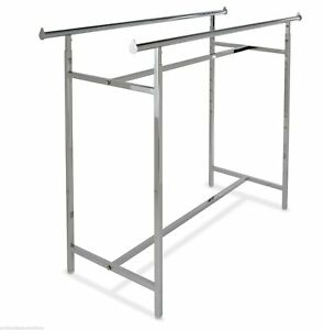 Double Rail Retail Display Rack With Adjustable Height 48 72 Chrome