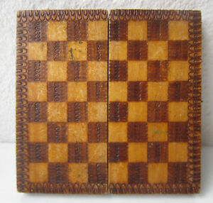 Vintage Wooden Checkerboard Game Chess Box Ornate Pokerwork Old