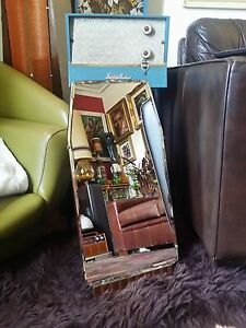 1940s 50s Art Deco Bevelled Edged Mirror Vintage Free Standing Dressing Table Vg