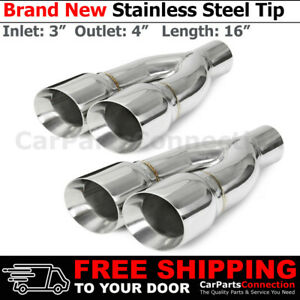 Polished 16in Weld Truck Exhaust Double Wall Tips 3 In 4 Out Dual Exit 234307