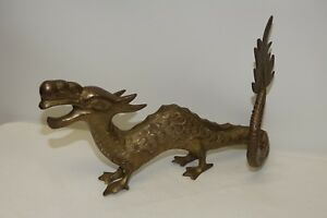 Antique Chinese Dragon Solid Brass Figurine 9 Long