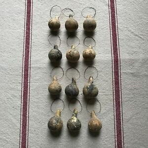 12 Primitive Dried Mini Gourd Ornaments Bowl Fillers Cabin Early Look Unwashed