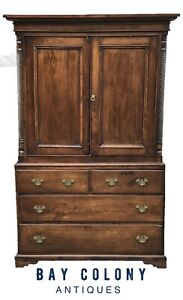 18th C English Chippendale George Iii Yew Antique Linen Press Cupboard Cabinet