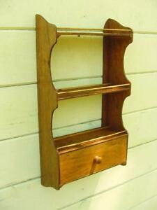 Vintage Nh Farm Made Kitchen Spice Shelf With Lower Drawer Nice Patina