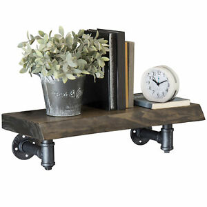 Mygift Wall mounted 24 inch Rustic Wood Shelf With Industrial Pipe Brackets