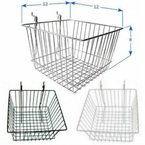 Pack Of 6 12 l X 12 w X 8 h Slatwall Baskets Black White Or Chrome