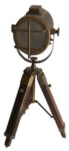 Old Antique Vintage Spot Light Searchlight Table Lamp Tripod Floor Decor Replica