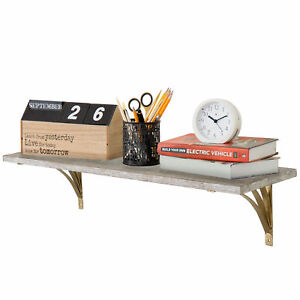 Mygift 28 inch Whitewashed Wood Wall mounted Shelf With Gold tone Metal Brackets