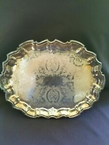 Silver Plate Footed Serving Tray Platter Etched Flowers