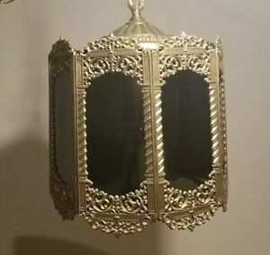 Vintage Gothic Hanging Light Fixture 8 Panels 3 Lights 12 Tall Medieval