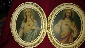 Jesus And Virgin Mary Oval 12 Frame Antique Vintage Religious Gold