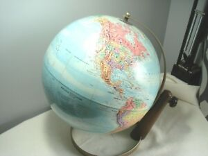 Vintage Art Deco Dual Axis Stand Topographic Desk Globe U S A