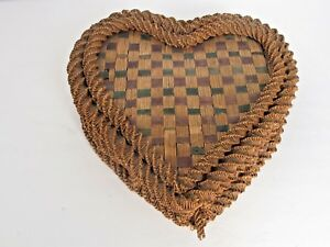 Antique Heart Shape Raffia Intricately Woven Sewing Basket C 1900