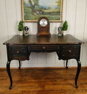 Antique French Carved Dark Oak Desk Secretary Partners Table Library Cabriole