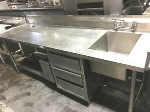Table Prep 96 X 30 X 36 h W t Right Side Sink 1 Bowl Stainless steel