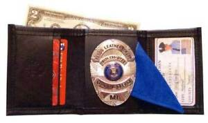Tri fold Badge Wallet By Pando Leather Craft