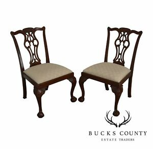 Lexington Chippendale Style Pair Of Mahogany Ball Claw Side Chairs