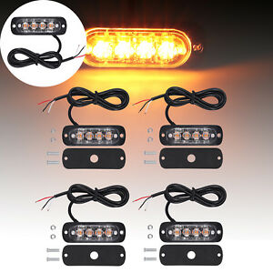 4pcs 4 Led Strobe Lights 12v 24v Amber Flashing Recovery Orange Grill Breakdown