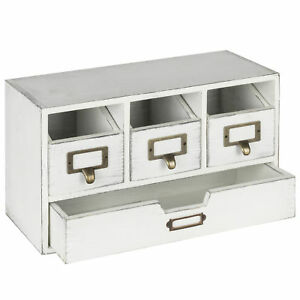 Mygift Vintage White Wood 4 drawer Desktop Organizer