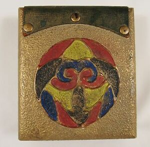 Antique Scarab Arts Crafts Hand Painted Gesso Wood Jewelry Trinket Box