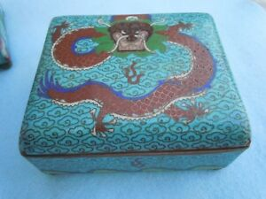 Great 19thc Footed Cloisonne Jewelry Trinket Box Humidor With Dragon Signed