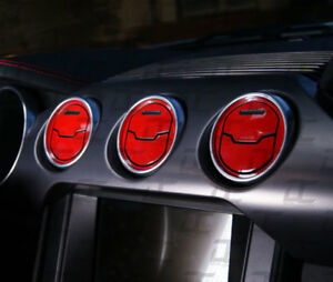 2015 2019 Mustang Gloss Red Interior Ac Vent Accent Decal Cover Kit Ford