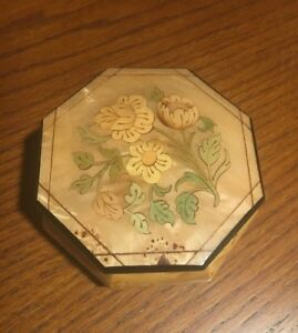 Vintage Italian Wood Inlay Vanity Jewelry Trinket Box Floral Made In Italy