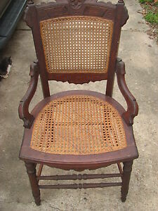 Circa 1880 S Antique Victorian Eastlake Walnut Cane Parlor Dining Chair