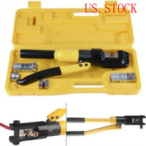 Terminal Crimper 10 Ton Hydraulic Wire Battery Cable Lug Crimping Tool W dies