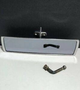Vintage Glass Rear View Mirror Tinted Curved Wide View Rat Rod Interior Chrome