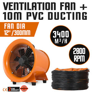 12 Extractor Fan Blower Portable 10m Duct Hose Low Noise 110v 250mm Garage