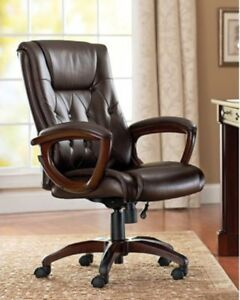 Executive Office Chair Big Man Desk Wheels Arms Heavy Duty Bonded Leather Home