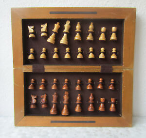 15 Vintage Chess Set Complete Chess Board Box Checkerboard Wooden Figures