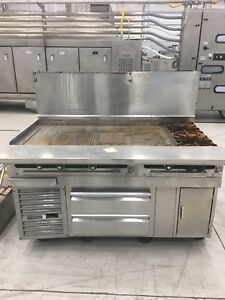 Commercial Flat Top Grill With Griddle 2 Gas Burners 2 Cold Drawers