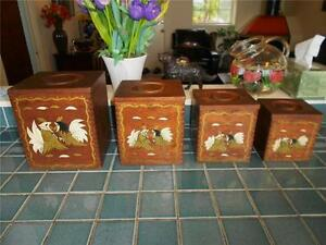 4 Vintage Rooster Wood Canister Coffee Tea Sugar Primitive Shabby Cottage Chic