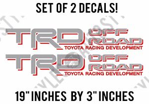 Trd Truck Off Road 4x4 Toyota Racing Tacoma Decal Vinyl Sticker Pair Silver Red