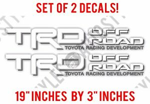Trd Truck Off Road 4x4 Toyota Racing Tacoma Decal Vinyl Sticker Pair White Grey