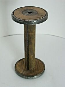 Spool Wood Wooden Metalthread Textile Candle Stick Holder Vtg Large 12 Tall