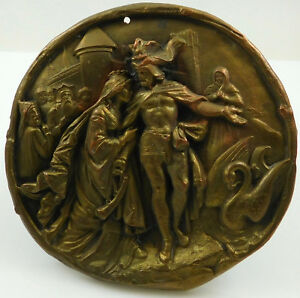 Antique German Bronze Plated Copper Plaque Siegfried By Gustav Grohe Releif