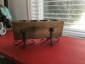 4 Hole Wooden Sugar Mold Candle Holder Primitive With Metal Stand