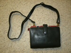 Franklin Covey Black Full Grain Leather Compact 6 ring Binder Crossbody Wallet