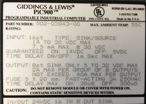 Giddings Lewis Plcs Pic900 Input output Combo 24 Vdc 502 03843 00