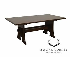 Stickley Mission Collection Oak Trestle Mouse Hole Dining Table